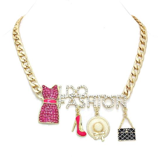 fashionista Crystal Accent I Do Fashion Charm Gold Chain Gold Tone Necklace