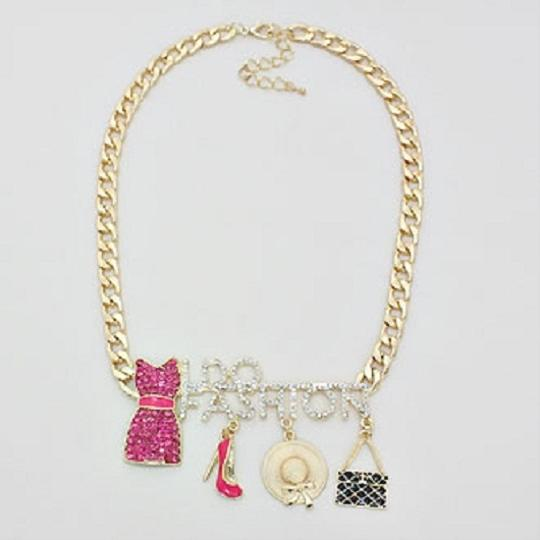 fashionista Crystal Accent I Do Fashion Charm Gold Chain Gold Tone Necklace Image 1