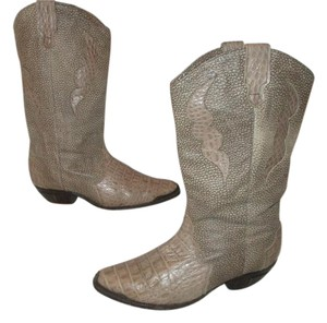 Dingo Vintage Leather Western Croc Reptile taupe & brown Boots