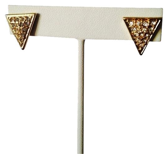 Guess Crystal & Gold Triangle Stud Earrings