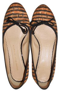 Charlotte Olympia Ballet Canvas Bamboo Print Brown Flats