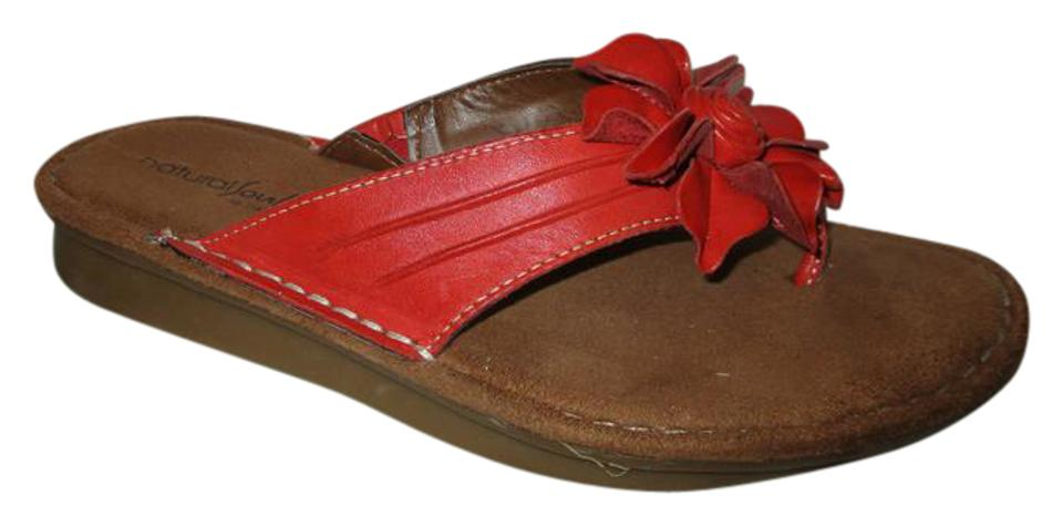 9d96a7da41ad Naturalizer Red Natural Sole Leather Flower Thong Sandals. Size  US 7.5  Regular ...