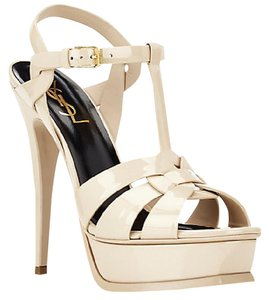 Saint Laurent Patent Leather Stiletto Sandal Gold Hardware Nude Platforms