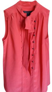 Marc by Marc Jacobs Silk V-neck Sleeveless Top Coral