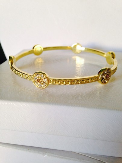 Other White & Champagne Crystal Pave' Bangle Beacelet Image 1