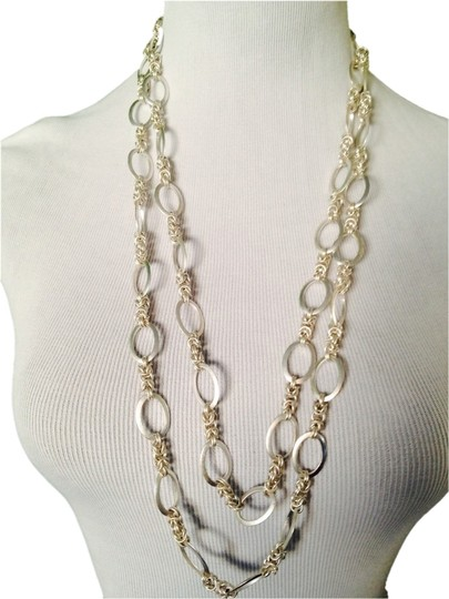 Preload https://item1.tradesy.com/images/silver-matt-silver-tone-double-row-chain-and-link-necklace-2160565-0-0.jpg?width=440&height=440