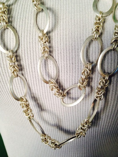 Other Matt Silver-Tone Double Row Chain & Link Necklace Image 3