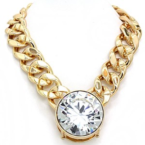 OTHER Chunky Statement Gold Tone Crystal Charm Necklace chain