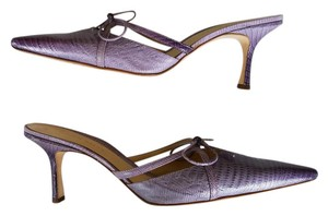 Antonio Melani Leather Pointed Toe Snakeskin Print Purple Lilac Mules