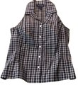 Ann Taylor Button Down Summer Blouse Checked Blouse black and white Halter Top