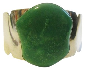 Mine Finds by Jay King Mine Finds By Jay King .925/Signed DTR Sterling Silver Apple Green Chrysoprase Gemstone Cuff Bracelet fits 6 /34