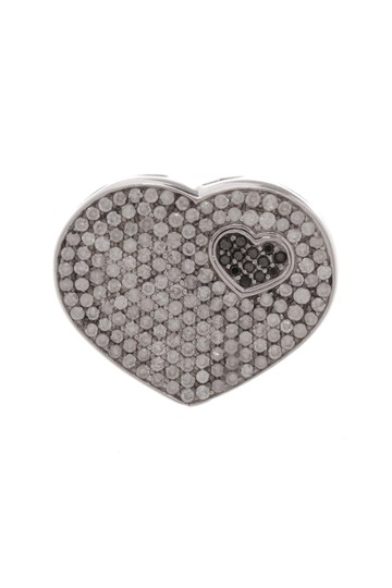 Fine Jewelry 18K White Gold Pave Diamond Heart-Shaped Ring