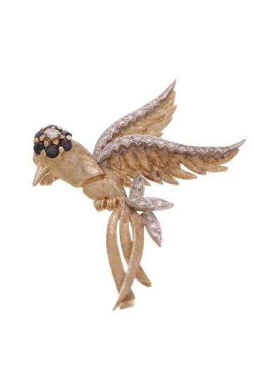 Fine Jewelry 14K White & Yellow Gold Diamond Estate Bird Brooch