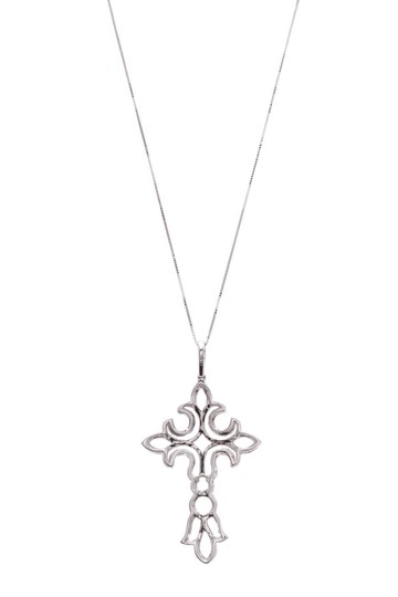 Fine Jewelry 18K White Gold Diamond Cross Pendant Necklace