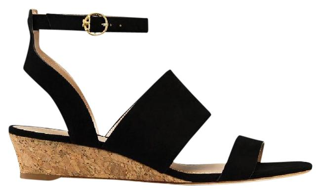 Tory Burch Black North Wedge Suede Sandals Size US 9 Regular (M, B) Image 1