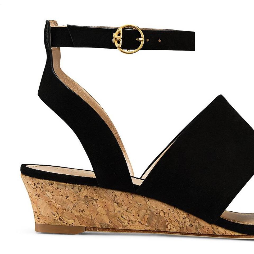 5f444bfa304 Tory Burch Black North Wedge Suede Sandals Size US 9 Regular (M