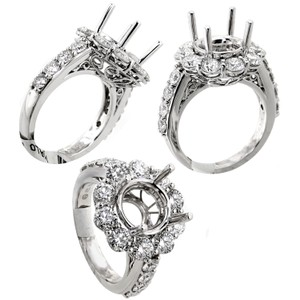 ABC Jewelry G Color Si1 Clarity Diamond Semi Mount Band Set with Round Cut Accent Diamonds 2.6 Engagement Ring