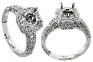 ABC Jewelry G Color Si2 Clarity White Gold Semi-mount Engagement Ring