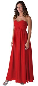Red Chiffon Strapless Sweetheart Long Feminine Wedding Dress Size 00 (XXS)