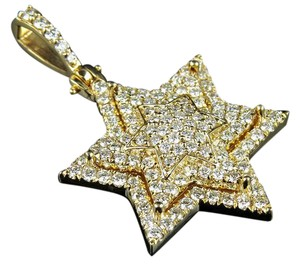Other Unisex Stacked Iced Out Star Of David VS Diamond Pendant 3.0ct 1.75