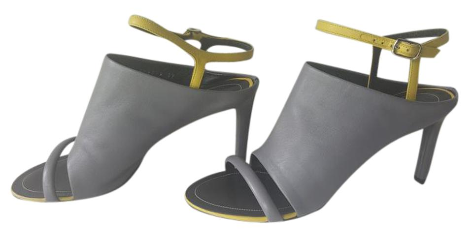 95ee1969b9d0 Balenciaga Black And White Lbd Leather Ankle Strap Dove-Gray   Yellow Mules  Image 0 ...