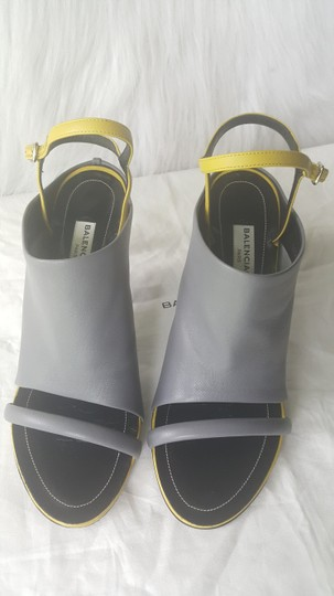 Balenciaga Black And White Lbd Leather Ankle Strap Dove-Gray & Yellow Mules