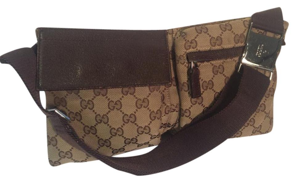 d3b380578fc3 Gucci Fanny Pack Waist Pouch Brown Canvas / Leather Cross Body Bag ...