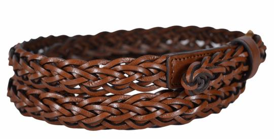 Gucci New Gucci Women's 380607 Brown Leather SKINNY Braided Belt 32 80