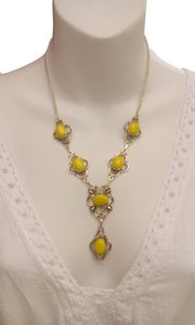 New 925 Sterling Silver Stamped Huge Rare Yellow Jade NECKLACE