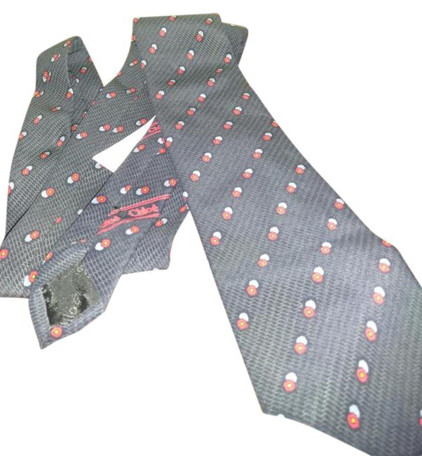 Chloé Black Red Gray Made In France Print Tie Chloé Black Red Gray Made In France Print Tie Image 1