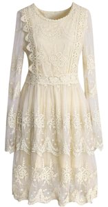 Chicwish short dress Cream Vintage Crochet Longsleeve Lace on Tradesy