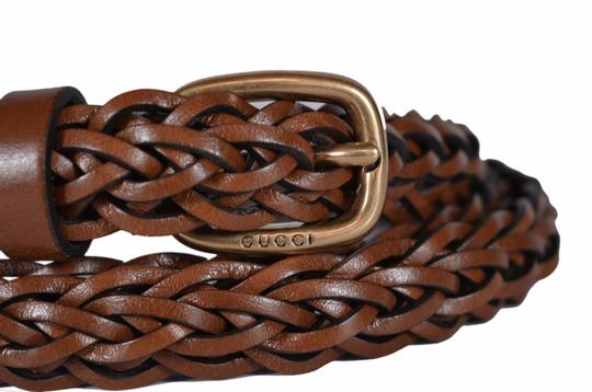 Gucci New Gucci Women's 380607 Brown Leather SKINNY Braided Belt 36 90 L