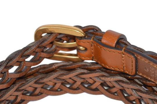 Gucci New Gucci Women's 380606 Brown Leather Braided Golden Buckle Belt 32