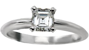 ABC Jewelry Color: F-g Clarity: Vs2-si1 .44ct. Asscher Cut Diamond Solitaire Engagement Ring