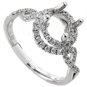 ABC Jewelry G Color Si1 Clarity Diamond Semi Mount Set with Round Accent Diamonds .42tcw Engagement Ring