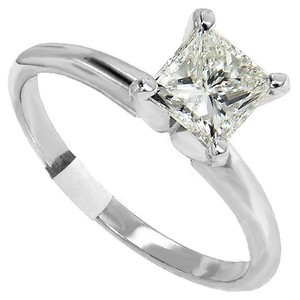 ABC Jewelry Color: K Clarity: Si1 .83ct. Princess Cut Diamond Solitaire Engagement Ring