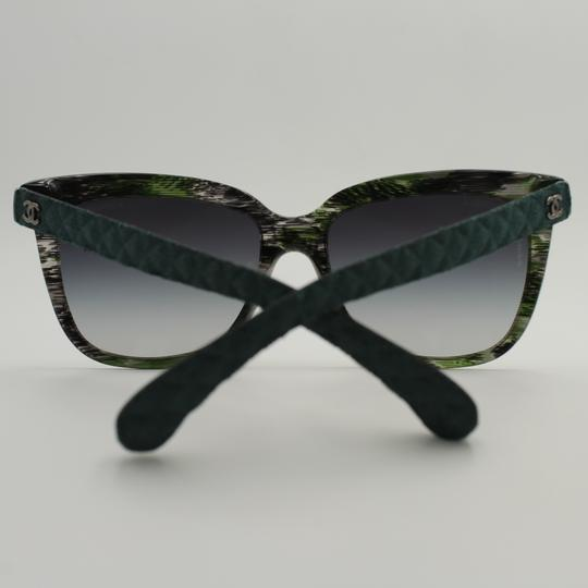 Chanel Square Transparent Green Quilted Denim Sunglasses 5343 1553/S6