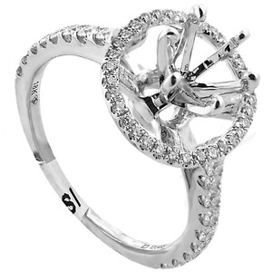 ABC Jewelry G Color Si1 Clarity Halo White Gold Semi-mount Engagement Ring