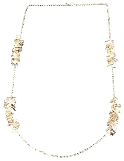 Anthropologie Long Gold Leaf And Beaded Necklace