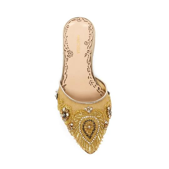 Marchesa Mesh Embroidered Ankel Strap Flat Sandal gold Mules