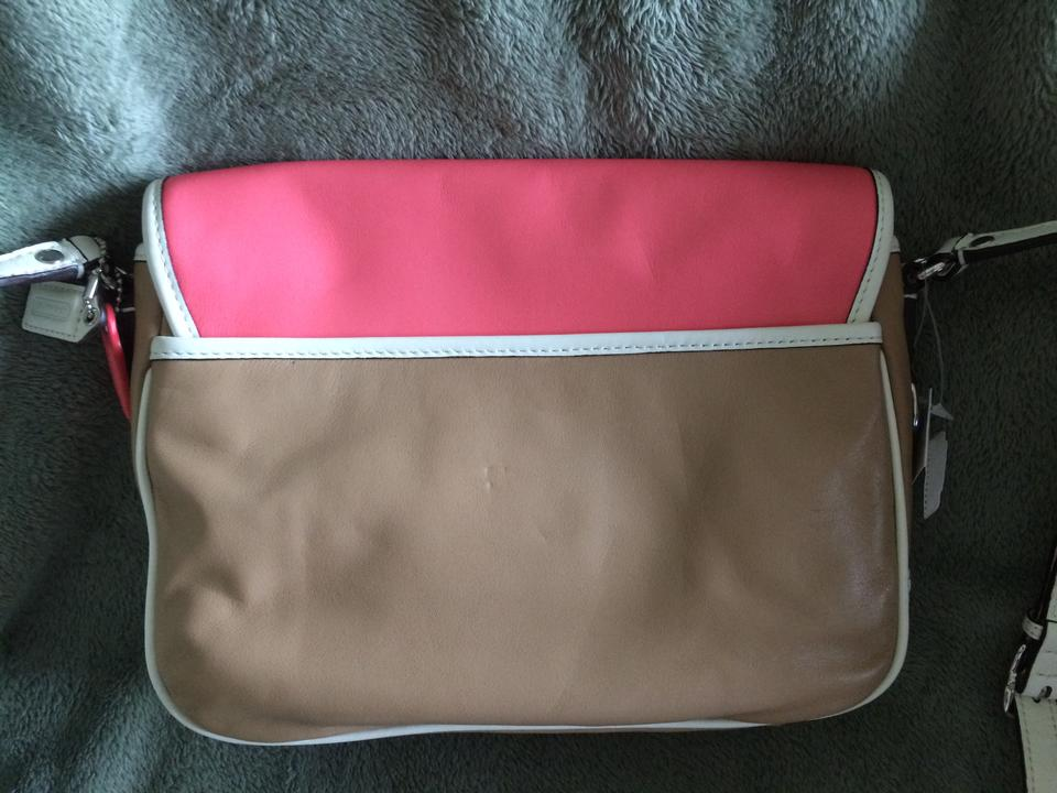 89eed4748899 Coach Park Colorblock Flap F23383 Rose Taupe Creme Leather Cross Body Bag -  Tradesy