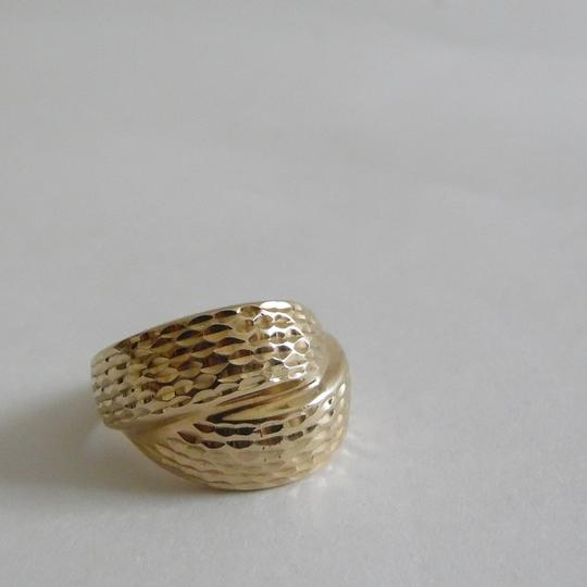 Michael Anthony Jeweler Authentic Michael Anthony 10K Yellow Gold High Polished Textured Overlap Ring with MA and 10K Stamp Size7
