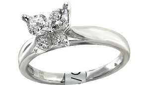 ABC Jewelry Color: F Clarity: Vs2 .76ct Total Weight Calla Cut Diamond In 18 Karat White Engagement Ring