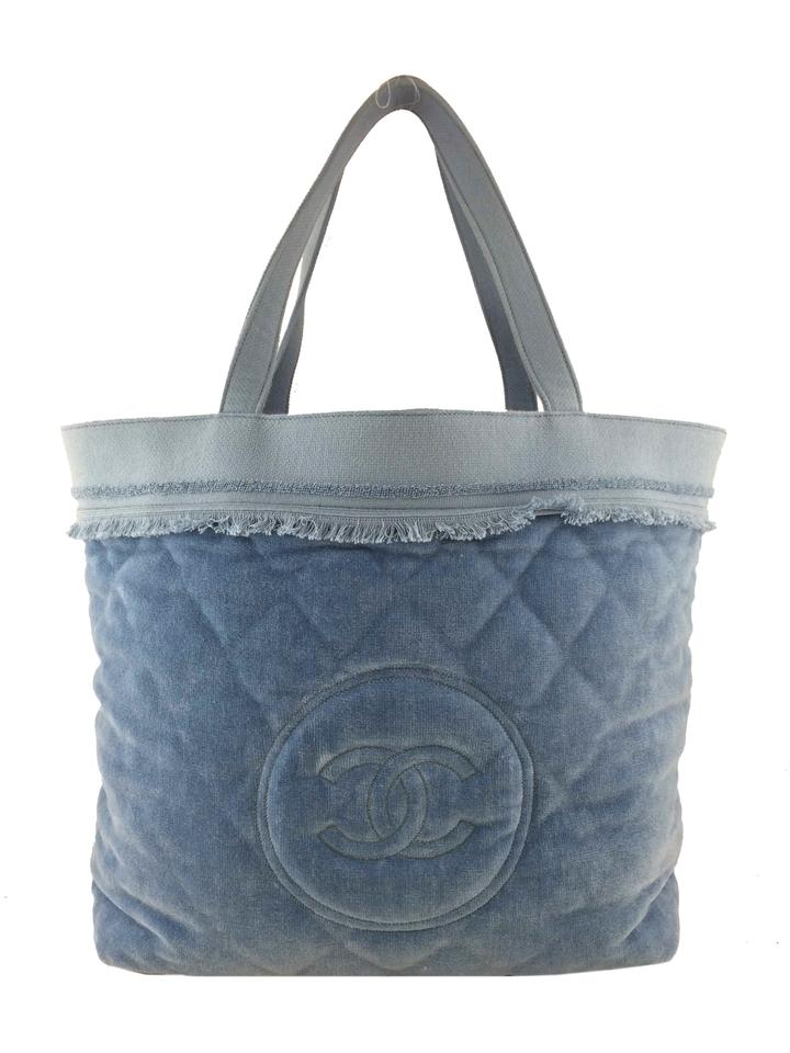 62c73bd6976214 Chanel Tote Quilted Terry Cloth Cc Blue Cotton Beach Bag - Tradesy