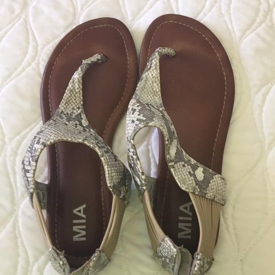 MIA white and gray snake Sandals