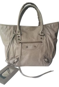 Balenciaga Sunday Leather Tote in Greige