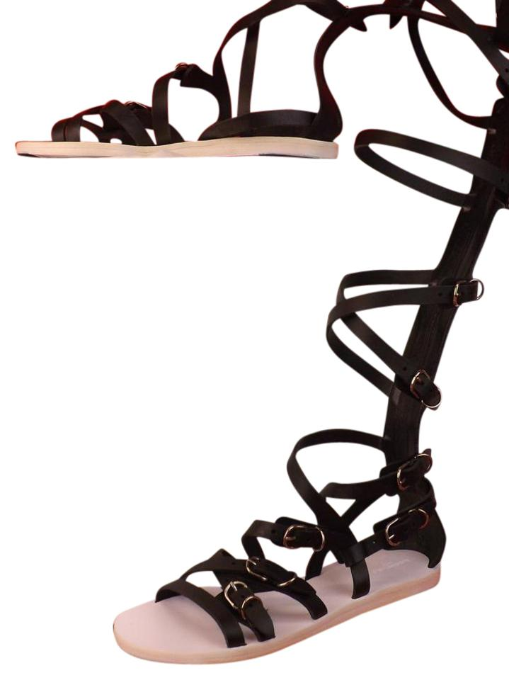 aa68aac5be6d Balenciaga Black Leather Strappy Gladiator Slave Knee High Sandals 38 Flats