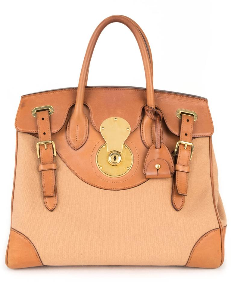 c896f528c6 Ralph Lauren And Leather Ricky 33 Tan Canvas Satchel - Tradesy