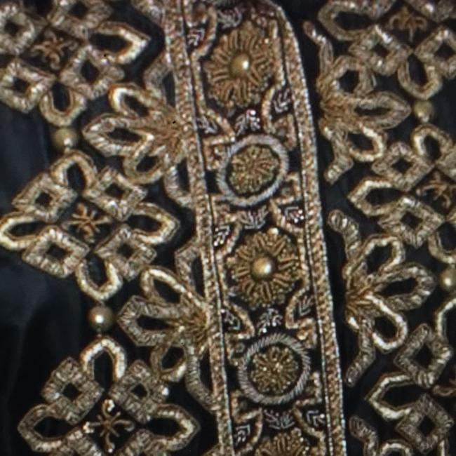etro richly embellished silk blouse top black with gold Top black and gold