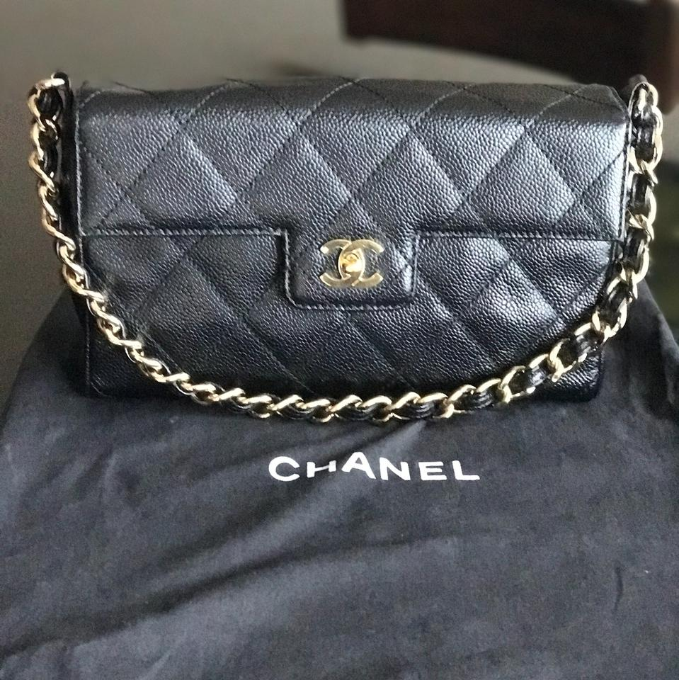 2a7256a28435f1 Chanel Single Flap One Chain Black Caviar Leather Shoulder Bag - Tradesy